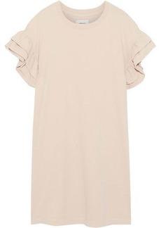 Current/elliott Woman The Carina Ruffled Cotton-jersey Mini Dress Tan