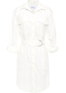 Current/elliott Woman The Carmel Belted Striped Cotton-jacquard Mini Shirt Dress White