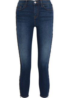 Current/elliott Woman The Chained Stiletto Cropped Mid-rise Skinny Jeans Dark Denim