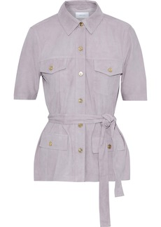 Current/elliott Woman The Charleville Belted Suede Shirt Lilac