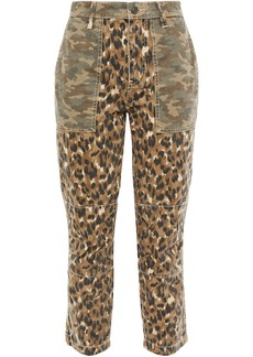 Current/elliott Woman The Clean Weslan Printed Cotton-twill Slim-leg Pants Animal Print