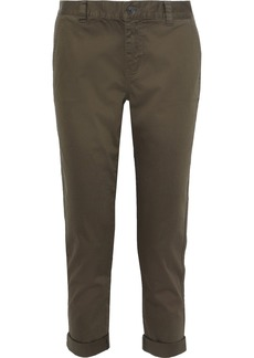 Current/elliott Woman The Confidant Cropped Stretch-cotton Slim-leg Pants Army Green