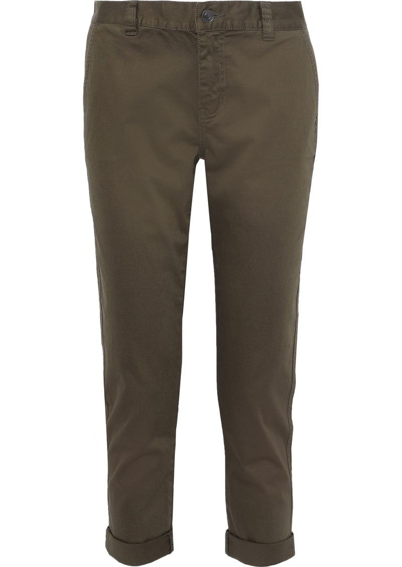Current/elliott Woman The Confidant Cropped Stretch-cotton Slim-leg Pants Army Green