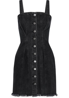 Current/elliott Woman The Corset Frayed Denim Mini Dress Charcoal