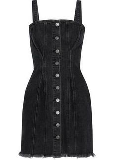 Current/elliott Woman The Corset Frayed Denim Mini Dress Charcoal