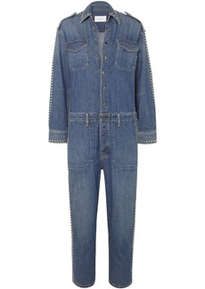 Current/elliott Woman The Crew Studded Denim Jumpsuit Mid Denim