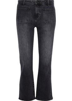 Current/elliott Woman The Cropped Boot Faded Mid-rise Bootcut Jeans Anthracite