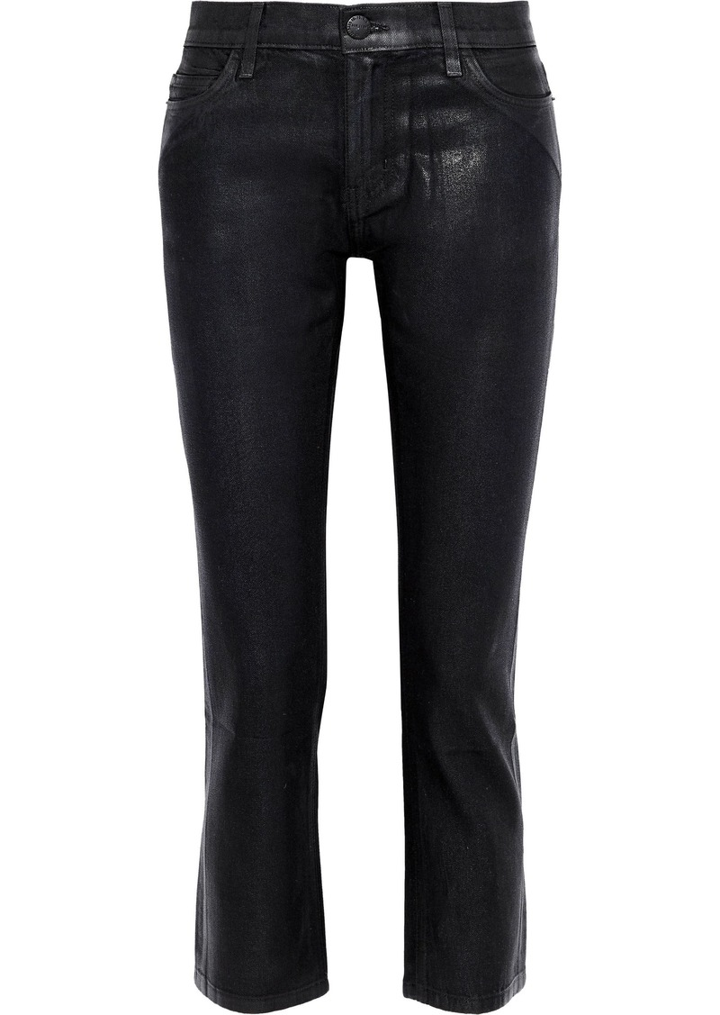 Current/elliott Woman The Cropped Coated Mid-rise Straight-leg Jeans Black