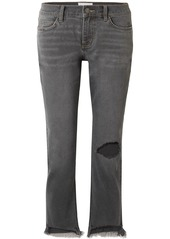 Current/elliott Woman The Cropped Distressed Mid-rise Straight-leg Jeans Gray