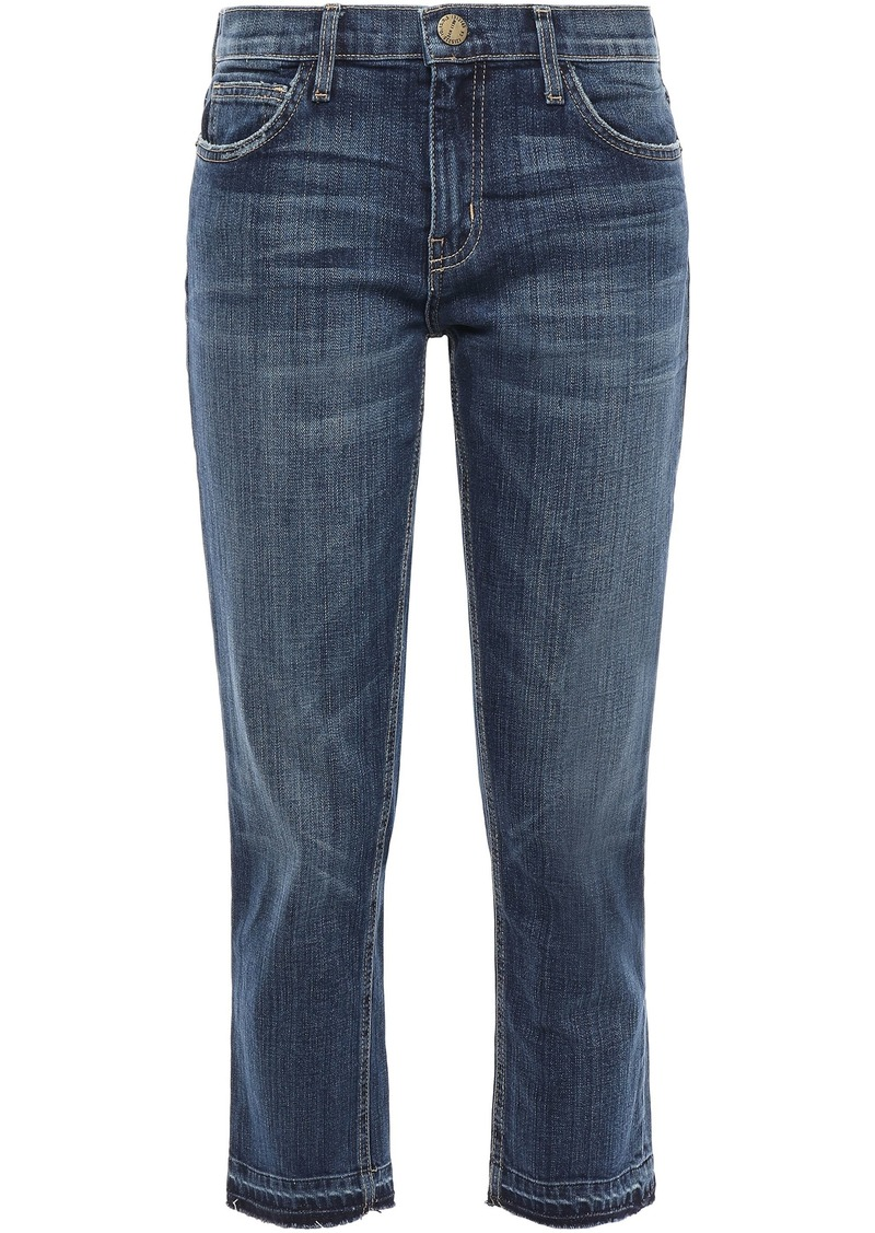Current/elliott Woman The Cropped Frayed Faded Mid-rise Straight-leg Jeans Mid Denim