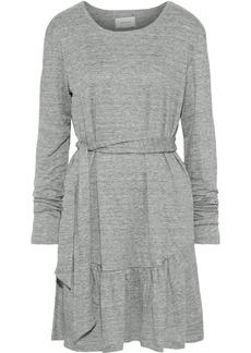 Current/elliott Woman The Crystal Belted Mélange Linen-jersey Mini Dress Light Gray