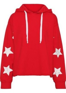 Current/elliott Woman The Cut Cropped Printed Cotton-fleece Hoodie Red
