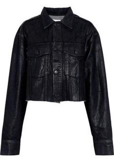 Current/elliott Woman The Cut-off Boyfriend Cropped Coated-denim Jacket Black