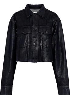 Current/elliott Woman The Cut-off Boyfriend Cropped Coated-denim Jacket Black