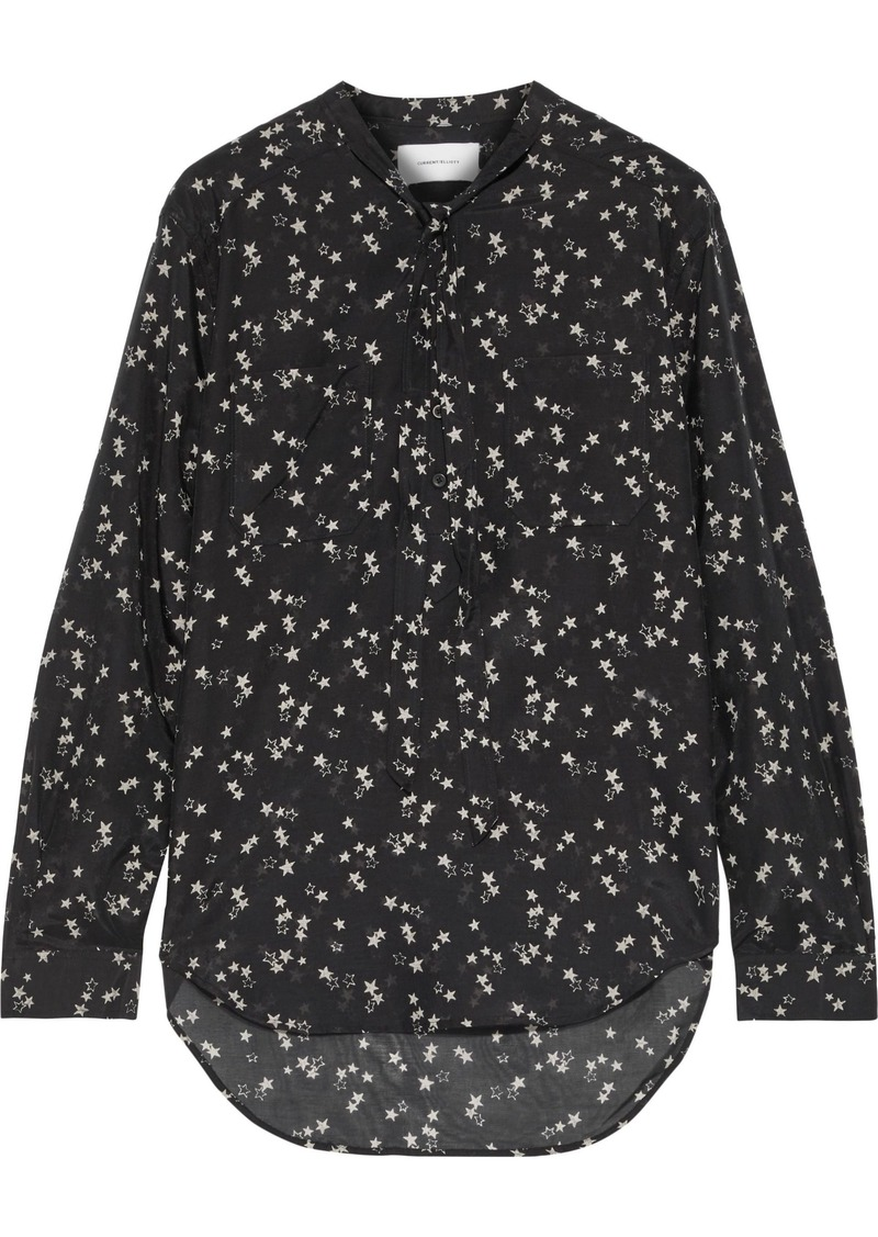 Current/elliott Woman The Darling Lili Printed Cotton And Silk-blend Blouse Black