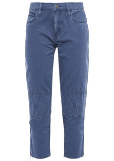 Current/elliott Woman The Debbie Cropped Cotton-twill Slim-leg Pants Indigo