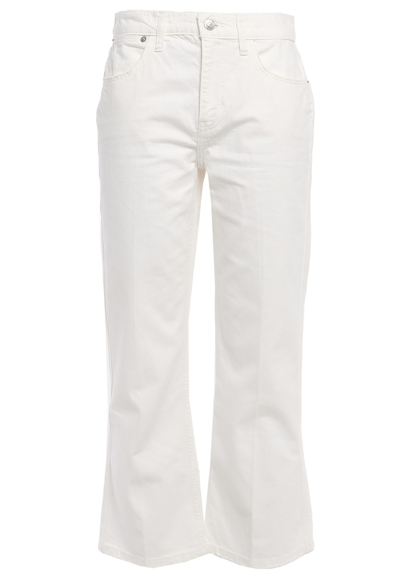 Current/elliott Woman The Donna Cropped Distressed Straight-leg Jeans Ecru