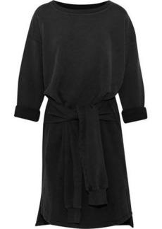 Current/elliott Woman The Double Sweatshirt Tie-front Cotton-terry Dress Black