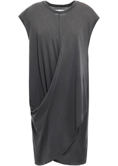 Current/elliott Woman The Draped Wrap-effect Cotton-jersey Dress Dark Gray