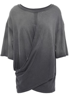Current/elliott Woman The Draped Wrap-effect Cotton-jersey T-shirt Dark Gray
