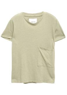 Current/elliott Woman The Drop Pocket Linen And Cotton-blend Jersey T-shirt Sage Green