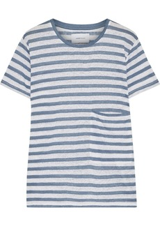 Current/elliott Woman The Drop Pocket Striped Linen-jersey T-shirt Light Blue