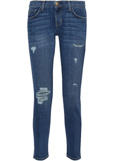 Current/elliott Woman The Easy Stiletto Distressed Mid-rise Slim-leg Jeans Mid Denim