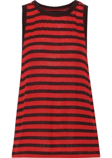 Current/elliott Woman The Easy Striped Modal-blend Tank Tomato Red