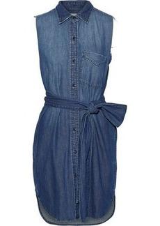 Current/elliott Woman The Eden Belted Distressed Denim Mini Shirt Dress Mid Denim