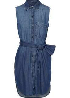 Current/elliott Woman The Eden Belted Distressed Denim Mini Shirt Dress Mid Denim