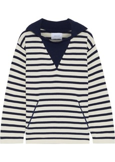 Current/elliott Woman The Elsie Striped Cotton Sweater Navy