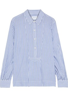 Current/elliott Woman The Emmy Pleated Striped Woven Blouse Light Blue