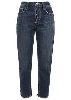 Current/elliott Woman The Exposed Fly Cropped Distressed High-rise Slim-leg Jeans Dark Denim
