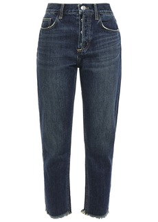Current/elliott Woman The Exposed Fly Cropped Distressed High-rise Slim-leg Jeans Dark Denim