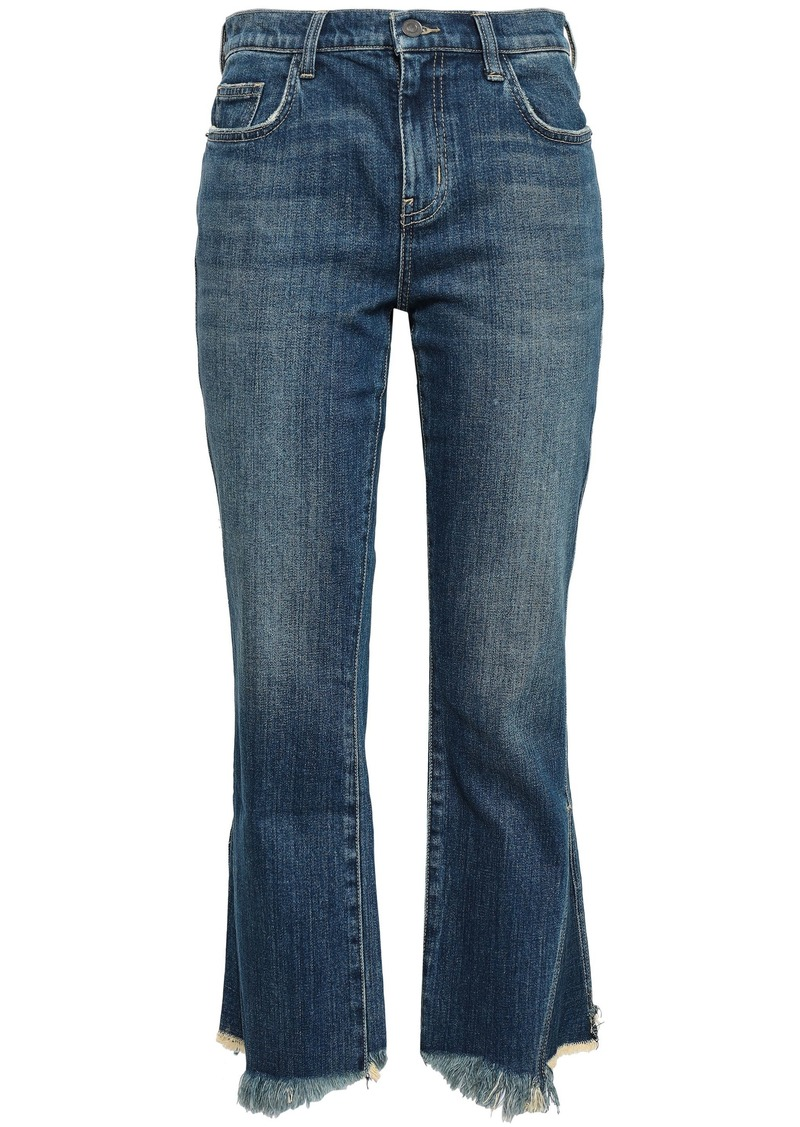 Current/elliott Woman The Fan Kick Frayed Mid-rise Kick-flare Jeans Dark Denim