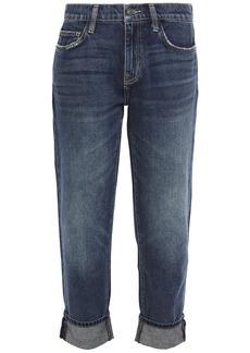 Current/elliott Woman The Fling Cropped Distressed Mid-rise Slim-leg Jeans Dark Denim