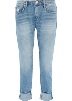 Current/elliott Woman The Fling Cropped Distressed Mid-rise Slim-leg Jeans Light Denim
