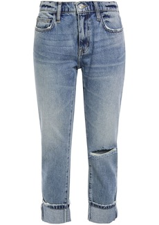 Current/elliott Woman The Fling Cropped Distressed Mid-rise Straight-leg Jeans Mid Denim