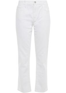 Current/elliott Woman The Fling Cropped Mid-rise Straight-leg Jeans White