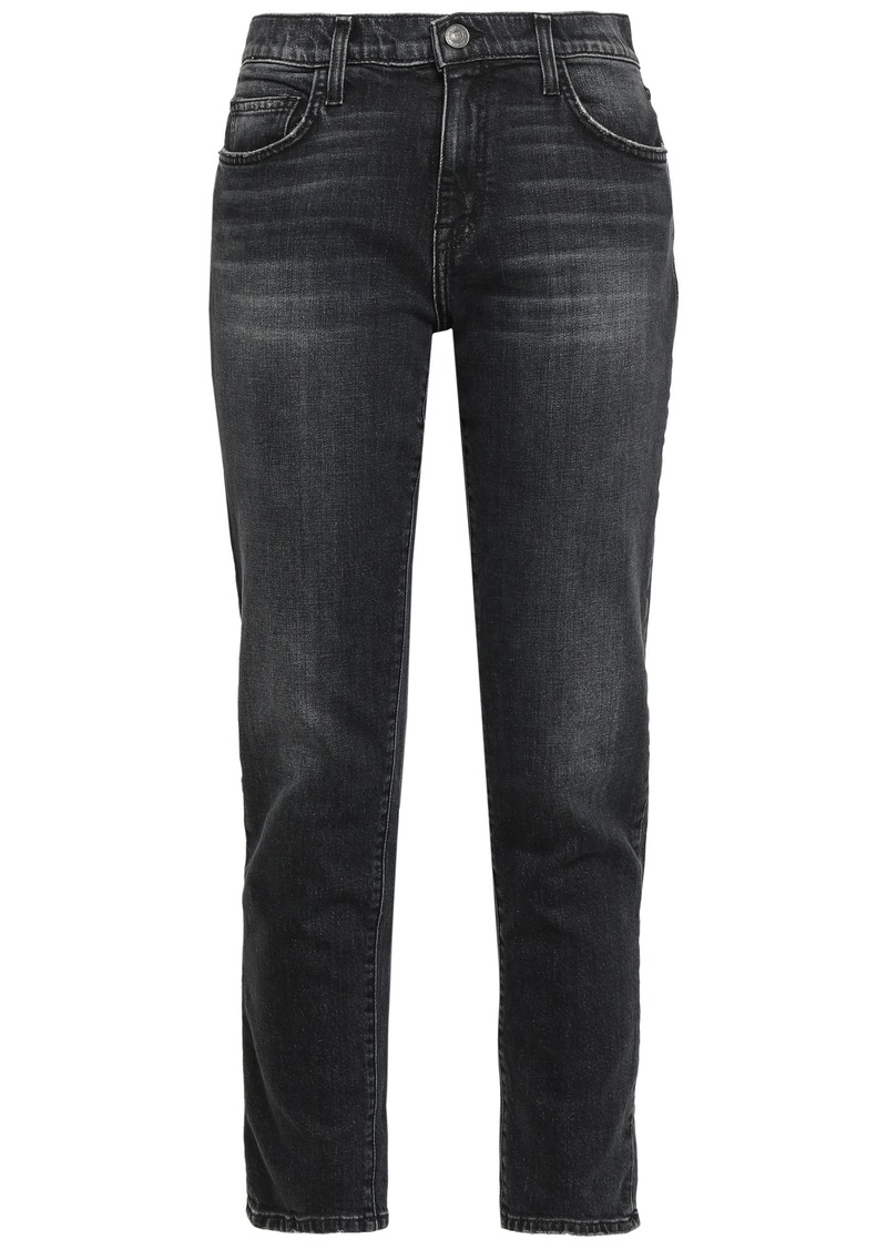Current/elliott Woman The Fling Distressed Mid-rise Slim-leg Jeans Charcoal