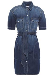 Current/elliott Woman The Flint Belted Denim Mini Shirt Dress Dark Denim