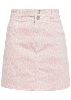 Current/elliott Woman The Flute Leopard-print Denim Mini Skirt Pastel Pink