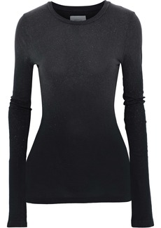 Current/elliott Woman The Hallan Metallic Cotton-jersey Top Black