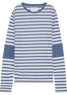 Current/elliott Woman The Hallan Striped Slub Linen-jersey Top White
