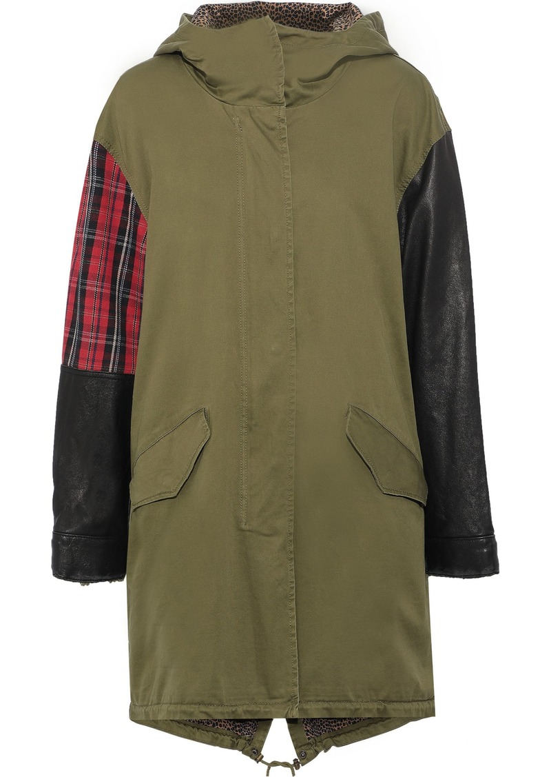 Current/elliott Woman The Harper Leather And Checked Jacquard-paneled Cotton-blend Twill Hooded Parka Army Green