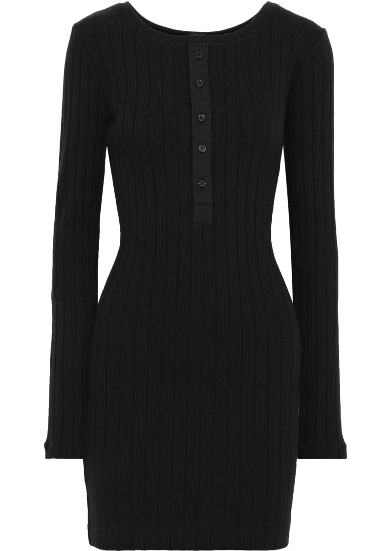 Current/elliott Woman The Heather Ribbed Cotton-jersey Mini Dress Petrol
