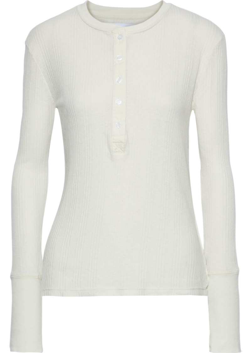 Current/elliott Woman The Heather Ribbed Jersey Top Ecru