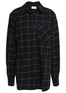 Current/elliott Woman The Helmsman Checked Cotton-flannel Shirt Black