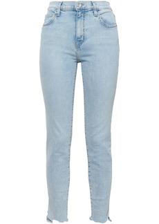 Current/elliott Woman The High Waist Ankle Cropped Distressed High-rise Skinny Jeans Light Denim