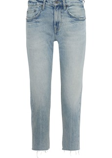 Current/elliott Woman The His Cropped Distressed Boyfriend Jeans Mid Denim